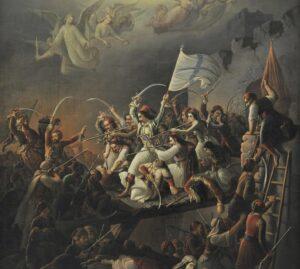 Λεπτομέρεια από τον πίνακα του Βρυζάκη Θεόδωρου «Η Έξοδος του Μεσολογγίου», 1853